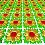 Tile  gold and green Stock Photo