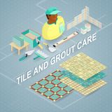 Building services. Isometric concept. Worker, equipment. Tile and grout care. Building services. Isometric interior repairs concept. Worker, equipment and items Stock Images