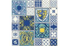 Tile illustration seamless mosaic decor vector Royalty Free Stock Photo