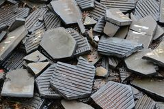 Tile industry. Broken tiles industry in building rubble Royalty Free Stock Image