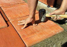 Tile installation royalty free stock photos