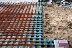 Tile laying site Royalty Free Stock Photos