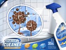 Tile mold cleaner ads. Spray bottle with stubborn mold and mildew in 3d illustration, bathroom scene vector illustration