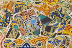 Tile mosaic wall in park Stock Images