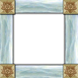 Tile & mother of pearl frame. Frame made of architectural elements & mother of pearl stock photos