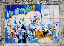 Tile painting. One of the tiled alcoves at Plaza de España in Sevilla Royalty Free Stock Photos