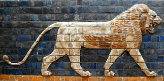 Babylonian Lion on the Ishtar Gate. A tile painting of a Babylonian lion once decorating the Ishtar Gate in Ancient Babylon - on display in the Topkapi Museum in stock image
