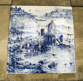 Tile Painting of farm in Sao Bento station, Portugal Stock Photo