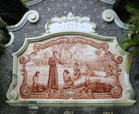 Tile Painting Fountain Sao Vicente Brazil. A tile painting depicting the jesuits evangelizing the indians in Brazil in a fountain from 1553 in Sao Vicente at the Royalty Free Stock Images