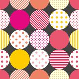 Tile patchwork vector pattern with pastel polka dots on black background. Or geometric wallpaper stock illustration