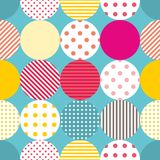 Tile patchwork vector pattern with polka dots on pastel background Royalty Free Stock Photography
