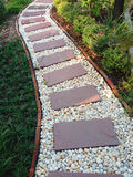 Tile path in a park , garden arrangement Royalty Free Stock Images