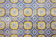 Tile pattern in blue, yellow and white Royalty Free Stock Photos