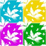 Tile Pattern, Plant and Butterfly Royalty Free Stock Photography