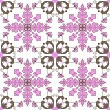 Tile pattern  seamless with pink brown floral ornaments. Portuguese azulejos, mexican, spanish, italian majolica or moroccan Royalty Free Stock Photos