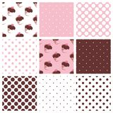 Tile vector pattern set with cupcakes and polka do. Ts on a pastel pink vector illustration