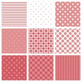 Tile vector pattern set with pink and white plaid, stripes and polka dots background. For seamless decoration wallpaper Stock Images