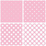 Tile vector pattern set with polka dots on pink ba. Tile vector pattern set with white polka dots on baby pink background vector illustration