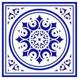 Tile pattern. Porcelain decorative background design, blue and white floral decor vector illustration, Big ceramic element in center is frame, beautiful vector illustration