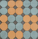 Tile  paving slabs and mosaic colored pavers of small stones tex Stock Image