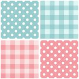 Tile pink and blue vector pattern set with polka dots and checkered plaid Royalty Free Stock Photography
