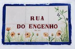 Tile plaque in street at Portugal Royalty Free Stock Photo