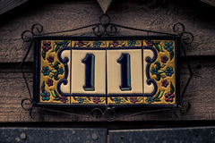 Tile Plate Eleven. A plate of tiles with the number eleven royalty free stock image