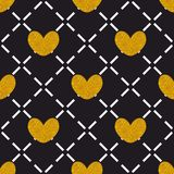 Tile quilted vector pattern with golden hearts Stock Image