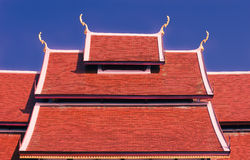 Tile Roof Achitecture of Buddhist Temple Royalty Free Stock Photo