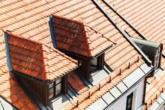 Tile on roof of apartment house in Bratislava Royalty Free Stock Image