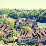 Tile roof of Bern and Aare river(Switzerland) Royalty Free Stock Image