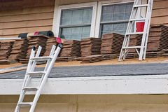 Tile Roof Construction Stock Photos