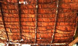 Tile Roof made from Teak Leaf Stock Images