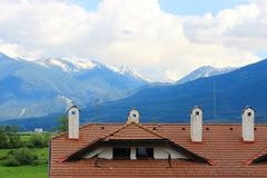 Tile Roof in the Mountains Stock Images