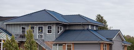 Tile roof on a new house.  royalty free stock images