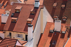 Tile roof in Prague. Houses in Prague, covered with tile Stock Image