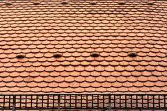 Tile roof with snow grid Stock Photos