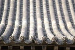 Tile and roof structure. Close up look of the chinese tile and roof structure of an ancient temple royalty free stock photos