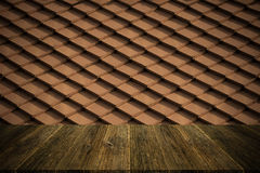 Tile roof texture surface vintage style with Wood terrace Royalty Free Stock Photo