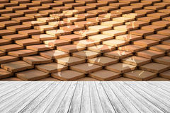 Tile roof texture surface with Wood terrace and world map Royalty Free Stock Image