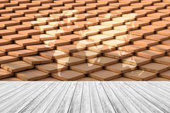 Tile roof texture surface with Wood terrace and world map Royalty Free Stock Photo