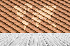 Tile roof texture surface with Wood terrace and world map Stock Image