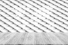 Tile roof texture surface with Wood terrace and world map Royalty Free Stock Photos