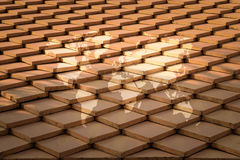 Tile roof texture surface with world map Royalty Free Stock Photo