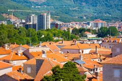 Tile roofes of Old City and new buildings, Budva, Montenegro Stock Photos