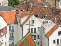 Tile roofs. In city old center Royalty Free Stock Photo