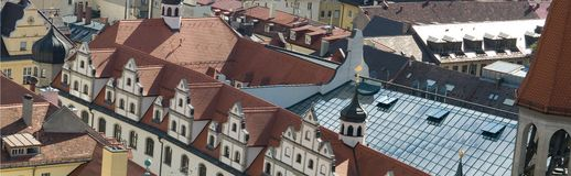 Tile roofs of Munich, Germany (4). Tile roofs of Munich (Munchen), Germany. View from sacred Peter's Church (4 Stock Images