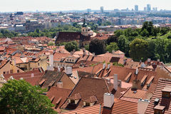 Tile roofs of the old city Prague Royalty Free Stock Photos