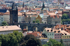 Tile roofs of the old city Prague Stock Image