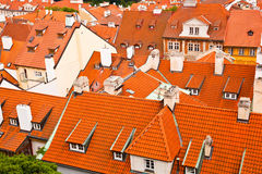 Tile roofs of the old city. Top view Stock Photography